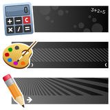 Education & School Horizontal Banners. A collection of three educational and school horizontal banners with a calculator, a palette with brush and a small pencil Stock Photo
