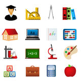 Education and school icon set. Education and school related symbols icon set Stock Illustration