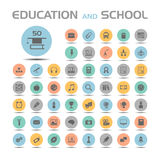Education and school icon set. 50 Education and school icon set vector illustration