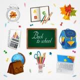 Education and school icon set on white. Education and school with school suplies icon set on white stock illustration