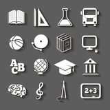 Education, school icons on gray background Royalty Free Stock Images