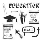 Education and school icons set. Hand drawn vector illustration Stock Photo
