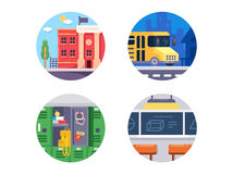 Education school icons. Set. School bus and classroom. Vector illustration Royalty Free Stock Photos