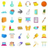Education in school icons set, cartoon style. Education in school icons set. Cartoon style of 36 education in school vector icons for web isolated on white Royalty Free Stock Image