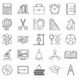 Education School Icons Set Line Art Vector Illustration Stock Photography