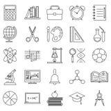 Education school icons set line art  vector illustration Stock Photography