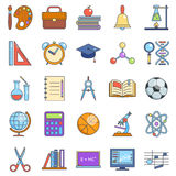 Education school icons set line art  vector illustration Royalty Free Stock Images