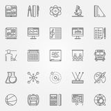 Education and school icons set. Vector school and college signs or symbols in thin line style Royalty Free Stock Photo