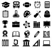 Education, School, Icons, Silhouettes Royalty Free Stock Image