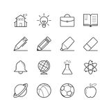 Education and School Icons - Vector illustration , Line icons set Royalty Free Stock Photo