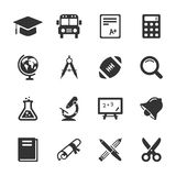 Education and school icons white. Vector Stock Image