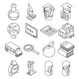 Education and school isometric 3d line icons Royalty Free Stock Photo