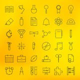 Education and School Line Science Icons Set Royalty Free Stock Photos