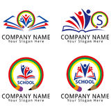 Education School Logo with Pencil, abstract People and Book Concept Stock Image