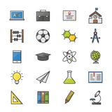 Education School and Science Color Icons Set Of Vector Illustration Style Colorful Flat Icon Stock Photos