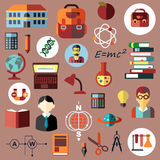 Education, school and science flat icons Royalty Free Stock Images