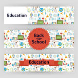 Education School and Science Vector Template Banners Set in Mode Royalty Free Stock Photo