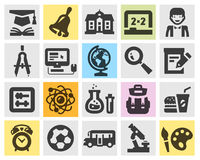 Education, school set black icons. Stock Photo