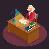 Education and school, study and literature. Flat isometric young man sitting in the library and reading a book, journal. Or magazine. Flat style vector Stock Photos