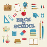 Education and School Supplies icon set. Vector Flat Education and School Supplies Icon Set Stock Photo