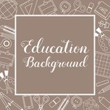 Education School Supplies Lined Icon Stuff Square Banner Brown Background royalty free stock images