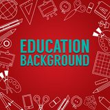 Education School Supplies Lined Icon Stuff Square Border Banner Red Background stock photos