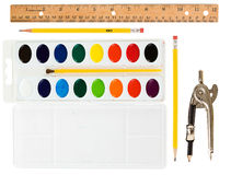 Education: School Supplies on White Stock Photos