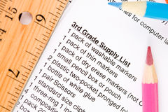 Education: School Supply List with Pencils and Supplies Stock Photography