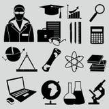 Education school university learning flat icons set Stock Image