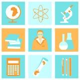 Education school university learning flat icons set Royalty Free Stock Images