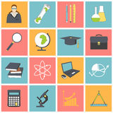 Education school university learning icons set with science elements isolated vector illustration Royalty Free Stock Images