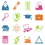 Education school university learning icons set with science elements isolated vector illustration Stock Images