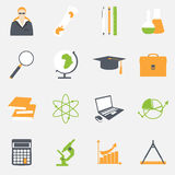 Education school university learning icons set with science elements  vector illustration Royalty Free Stock Images