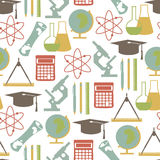 Education school university learning pattern with science elements isolated vector illustration. Education school university learning seamless with science Royalty Free Stock Photo