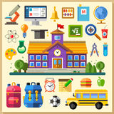 Education. School. University. Vector flat icon set and illustrations. Education in school and university. Vector flat icon set and illustrations Stock Photography