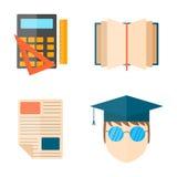 Education and school vector illustration web icon set college training graduate symbols. Stock Image