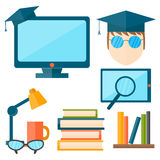Education and school vector illustration web icon set college training graduate symbols. Stock Photos