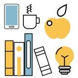Education school vector illustration web outline icons set college training graduate symbols. Royalty Free Stock Photography