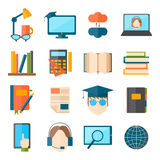 Education and school vector web icon set college training graduate symbols. Royalty Free Stock Photography