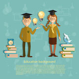 Education, schoolboy and schoolgirl, back to school Royalty Free Stock Image