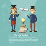 Education schoolboy schoolgirl back to school college university. Study power of knowledge diploma exams vector illustration Royalty Free Stock Photo