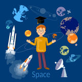 Education schoolboy studying astronomy and space Stock Photo