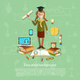 Education, schoolgirl exam, graduation cup, diploma Stock Images