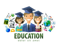 Education, schooling vector logo design template Royalty Free Stock Image