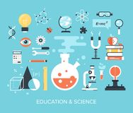 Education and Science. Abstract flat vector illustration of science and technology concepts. Design elements for mobile and web applications Royalty Free Stock Photo