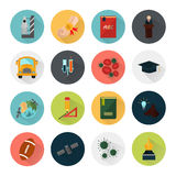 Education and science color icons set. Set of color flat icons for web and mobile design Royalty Free Stock Photography