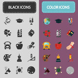Education and science color icons set. Set of simple and color flat icons for web and mobile design Stock Image