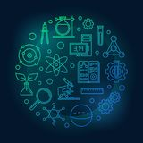 Education and science colored round vector illustration. In outline style on dark background vector illustration
