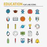 Education and Science Colorful Flat Line Icons Set. Vector Set of 25 School and Graduation Modern Thin Outline Icons for Web and Mobile. Linear Icons Royalty Free Stock Images