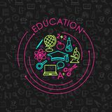 Education and science concept on seamless background Royalty Free Stock Image